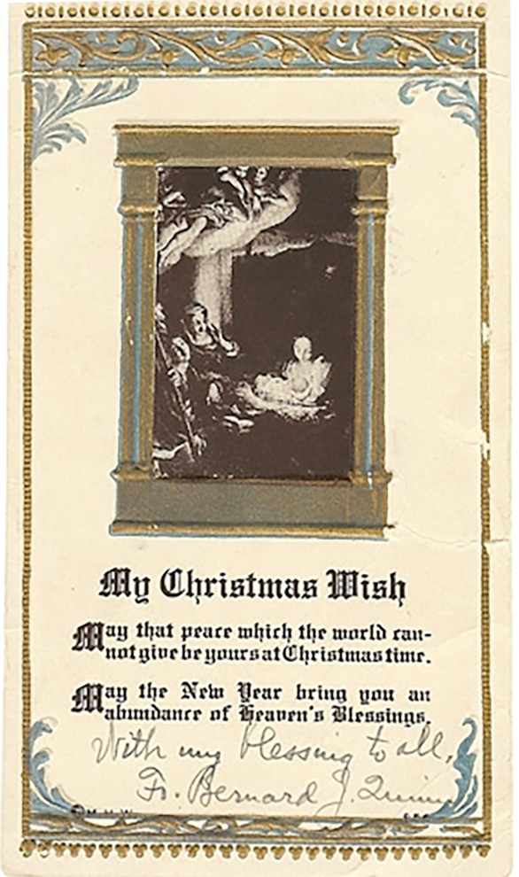 Personalized Christmas card to Parishioners