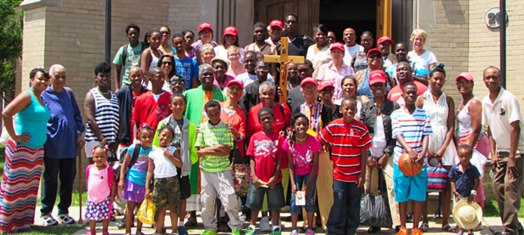 Saturday July 12th 2014 - Annual summer outing group outside the Msgr. Quinn's Memorial Chapel on the grounds of Little Flower Children's Services at Wading River, Long Island.