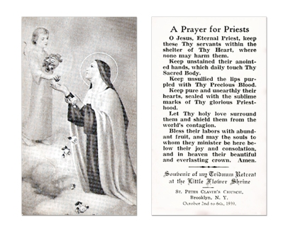 St. Therese's prayer for Priests - front and back